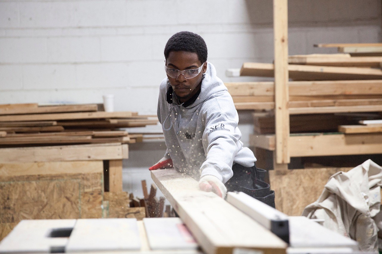 Young man working in construction