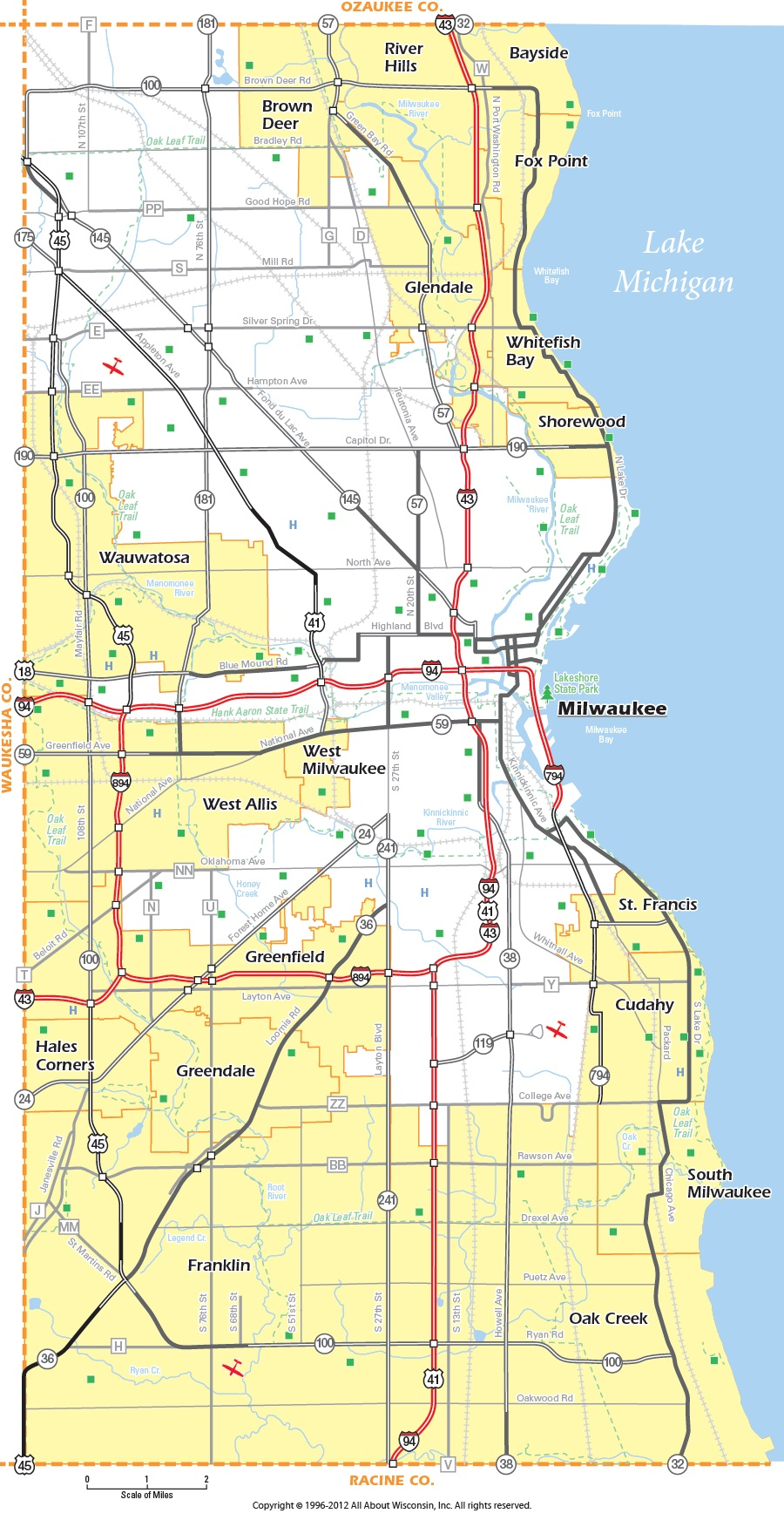 Milwaukee county Map